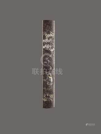 AN IRON, SILVER AND GOLD KOZUKA OF TAKANORI BY MASAYUKI
