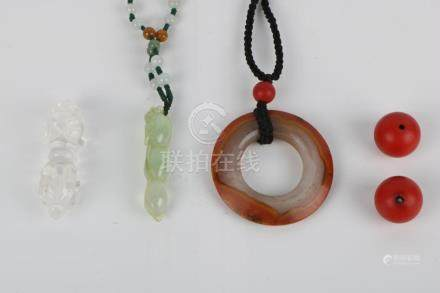 5 pieces of Agate ring, Crystal Pendant, Hard Jade Pendant