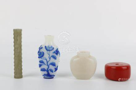 Fragrance holder, Glass & Blue and white snuff bottle, Agate