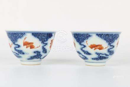 Pair of Xuantong Blue and White Bowls