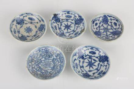 Set of 5 Qing Dynasty Blue and White Plates
