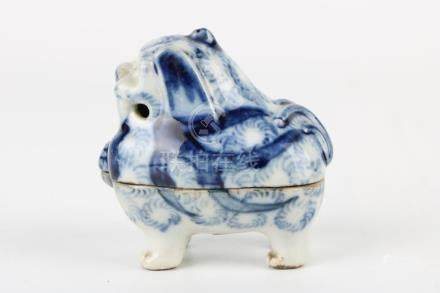 Ming Dynasty Blue and White Lion Box