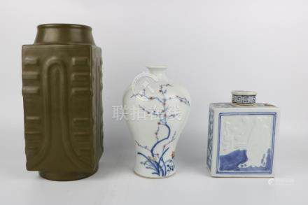 Porcelain bottle and tea pot