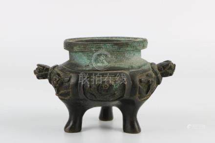 Ming Dynasty Bronze Tortoise Ear Tripod Incense Burner