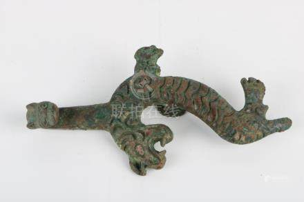 Early Ming Dynasty Bronze Inlay with Gold set Stone Hook