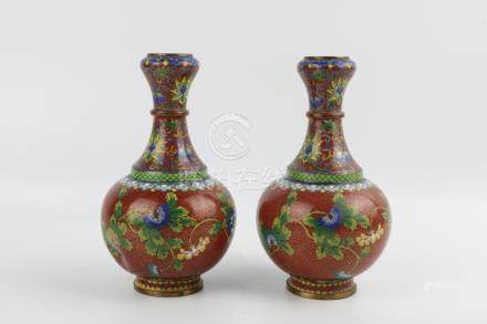 Pair of Qing Dynasty Flower Cloisonne Garlic Bottles
