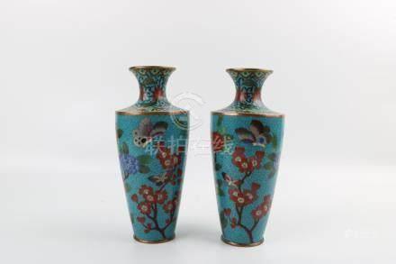 Pair of Qing Dynasty Flower Cloisonne Bottles