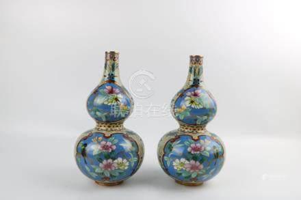 Pair of period of Changhui cloisonne gourd bottles