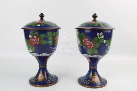 Pair of Qing Dynasty Cloisonne Tea Jars