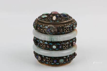Qing Dynasty Silver Jewelry Box With Two Hard Jade Bracelets
