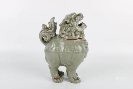 Ming Dynasty Green Glaze Lion Incense Burner