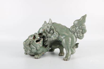 Ming Dynasty Green Glaze Double Lion Ornaments