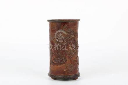 Bamboo carved brush pot