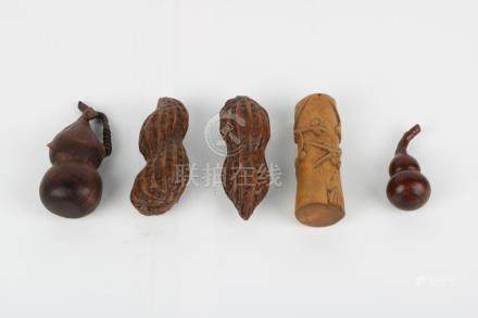 5 pieces of Rosewood boxwood decorations