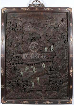 Sandalwood carved screen with jade