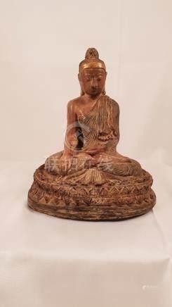Japan Wood Statue Buddha Shakyamuni early 20th Gold
