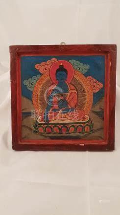 Wood Painting Buddha Akshobya early 20th Nepal Tibet Five Wi