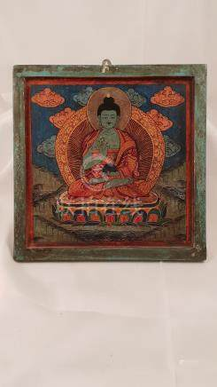 Wood Painting Buddha Amoghasiddhi early 20th Nepal Tibet Fiv