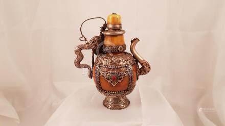 Tibetan buddhist kettle 18th Amber Silver Silk Stone Ceremon