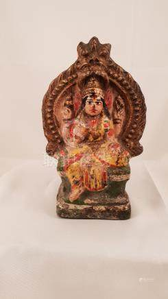Coloured terracotta statue Parvati, Hindu goddess of fertili