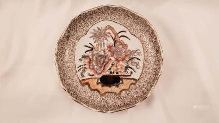 Japan porcelain dish flowers, gold enamel