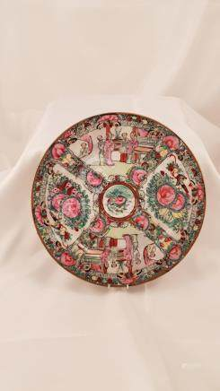 Famille rose medaillon porcelain plate China 20th