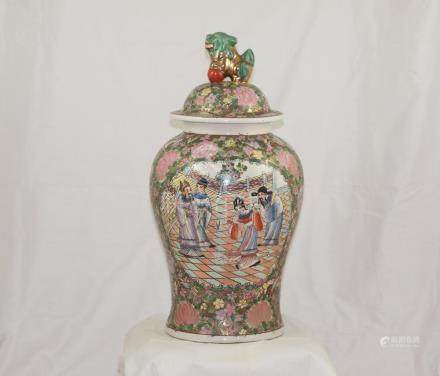 Big chinese ceramic medallion jar Famille rose early 1900 Fo