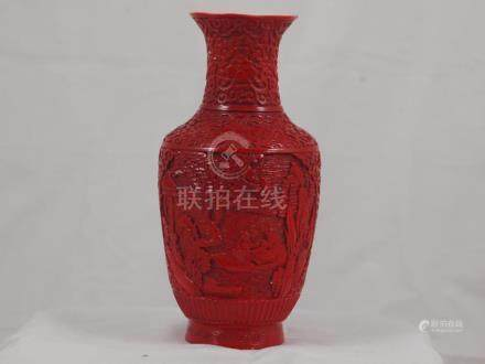 Red lacquered chinese porcelain vase early 20th