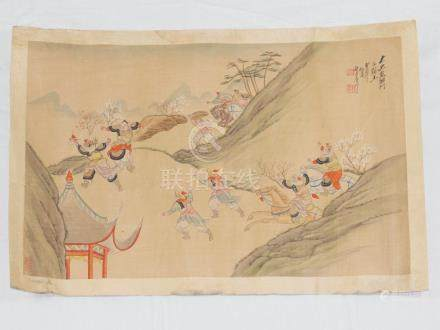Chinese silk scroll battle painted ink and colour