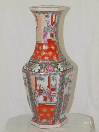 Chinese porcelain hexagonal vase 1920s Macau famille rose