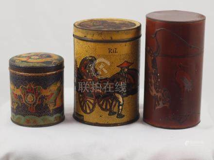 Lot of three antique chinese cans 1940