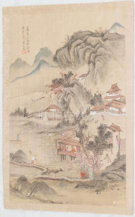 Chinese silk scroll rural scene painted ink and colour
