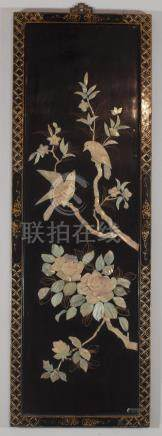 Very beautiful chinese panel in lacquered wood mother of pea
