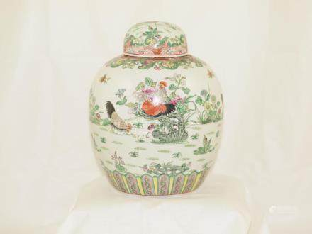 Chinese porcelain jar Famille rose early 1900
