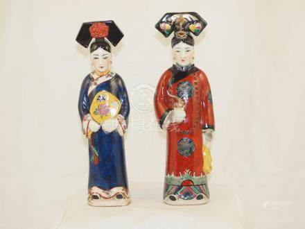 Couple chinese women polychrome porcelain first half 20th