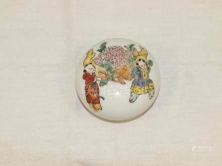 Erotic scene porcelain cosmetic case late 19th century