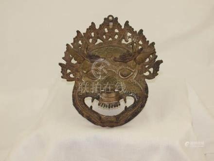 Tibet Bronze Mask Mahakala Buddhism 19th