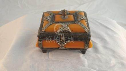 Tibetan amber jewelry box Tibet China
