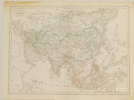 Map of Asia coloured by hand Lithography 1850