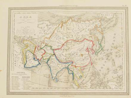Map of Asia coloured by hand Lithography 1864