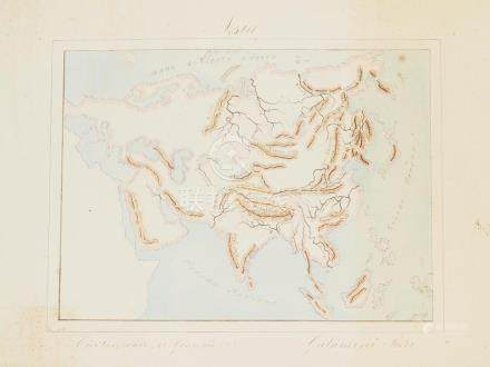 Map orography Asia handwritten coloured by hand Galamini 190