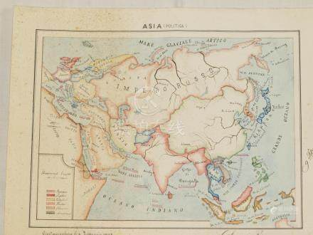 Map Asia handwritten coloured by hand Galamini 1908