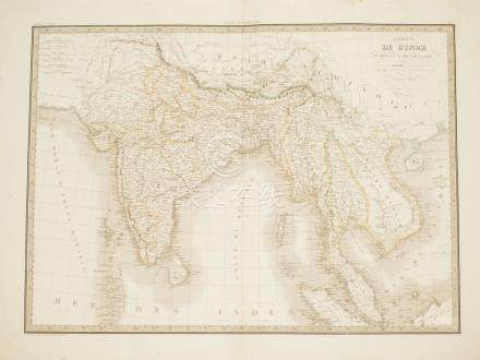 Big Map India and Southeast Asia coloured by hand Lapie 1829