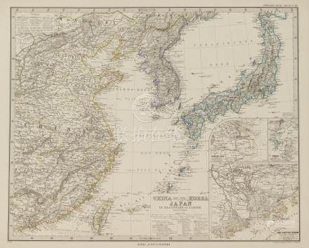 Map China Korea and Japan 1875 coloured by hand with aquarel