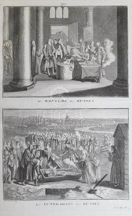 Animated view Russia Russian baptism and funeral 1726 Picard