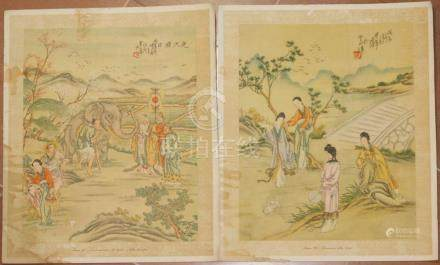 6 prints chinese subject backgrounds historical scenes
