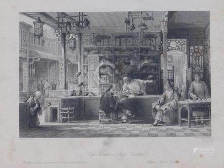 Animated view Cap Vender Shop Canton China 1845 Floyd