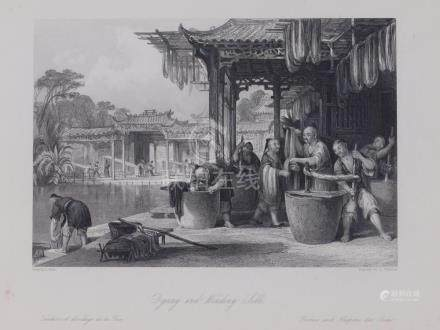 Animated view people dyeing and winding silk China 1845 Pate