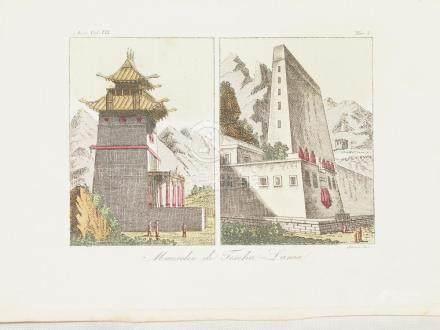 View Mausoleum of Teschu Lama in Tibet China 1825 Sasso