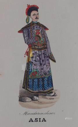 Costume chinese mandarin 1870 painted by hand China
